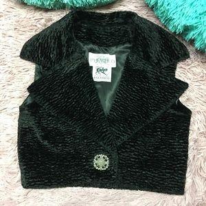 PARASUCO Vintage Black Faux Fur Vest ~ Medium